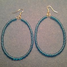 BLue Oval Hoop earrings Blue BEaded Hoop Earrings | LOVE33 - Jewelry on ArtFire