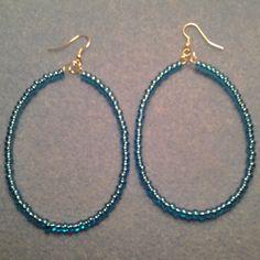 BLue Oval Hoop earrings Blue BEaded Hoop Earrings   LOVE33 - Jewelry on ArtFire