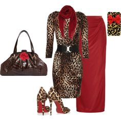 """""""Leopard and red"""" by bethanyeb on Polyvore"""