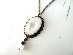 White oval necklace polymer clay and bronze necklace by ruthreizin, $25.00