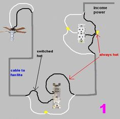 wiring diagram junction box light diagrams explained a switch to multiple lights and plug google search rewiring for fan instead of outlet incom oto out