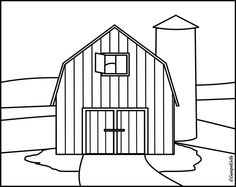clip art black and white | Christian Clip Art: Coloring Picture Barn on a Farm (Black and white)