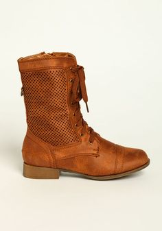 Perforated Design Boots, COGNAC, large