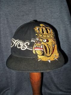 Vintage K&B Ethos Metallic Embroidered Logo Bulldog Black Unisex Ball Cap #Ethos #BaseballCap