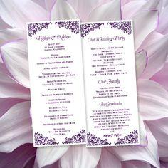 Wedding Program Template Faith Purple Editable by WeddingTemplates