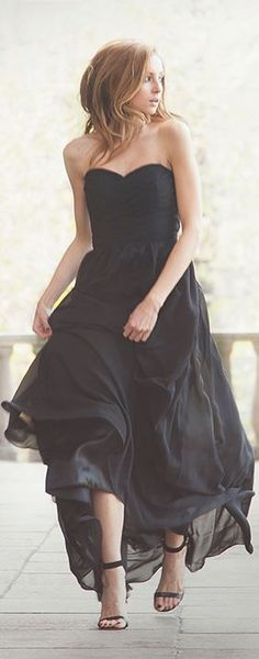 The Long #Black #Dress by FashionMugging.com