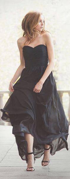 The Long #Black #Dress by FashionMugging.com