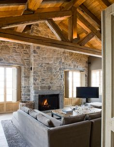 Gorgeous Spacious Chalet With Warm And Cosy Ambience 08 House Design, House, Fireplace Design, Living Room Decor, House Styles, Stone Houses, Living Room Decor Rustic, Home Interior Design, Rustic House
