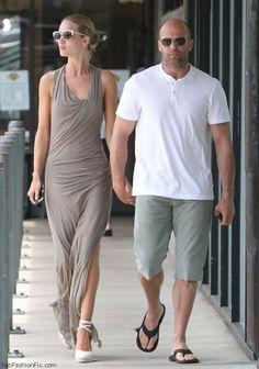 Rosie Huntington-Whiteley and Jason Statham street style