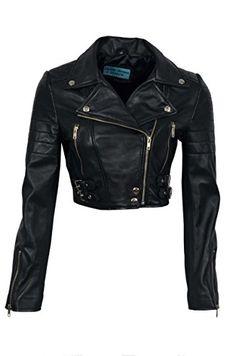 9bbcba9cdf412 Missy Ladies Short Fashion Fitted Black Biker Soft Napa Goth Leather Jacket  KYLIE (4 US
