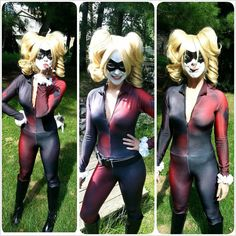 *** note *** there are two versions here. One lighter and one darker. Please message with order what you prefer.    Suit is a fan made custom designed Harley Quinn bodysuit. Suit is made from a lycra poly blend suitable for sport use. Suit is professionally sewed and assembled. Sleeves are full length with thumb loops and the legs stop below the knee and are designed to be worn with knee high boots. Zipper goes down to the navel. Suit is custom made and one of a kind.    Sale is for suit…