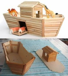 icu ~ Pin on kids wood crafts ~ Imagem relacionada Diy Popsicle Stick Crafts, Popsicle Stick Houses, Popsicle Crafts, Bible Crafts For Kids, Diy For Kids, Crafts To Make, Noahs Ark Craft, Christian Crafts, Stick Art