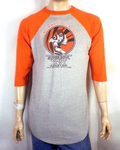 vtg soft thin Logo 7 1982 Cincinnati Bengals Raglan T-Shirt Superbowl XVI  XL. Stl Vintage 325f5955b