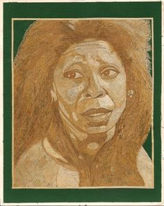 Whoopi Goldberg Leaf art portrait Ancient leaf art by museumshop, $59.00. Whoppie made out of leaves.  Can you BELIEVE IT IS COMPLETLY. Made of leaves of rice plant.  No color,paint or dye added to the natural color of rice straw.  Ancient leaf art.! !  DISCOVER The beauty & uniqueness of leaf art.  To see more of leaf art visit www.etsy.com/shop/museum shop.