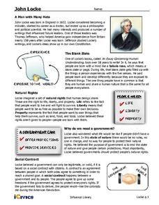 John Locke Handouts & Reference for - Grade Back To School Night, Welcome Back To School, Social Studies Worksheets, Alphabet Worksheets, School Supplies In Spanish, Back To School Worksheets, Social Contract, Engage In Learning, John Locke