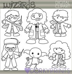 Wizards Clipart Set -Personal and Limited Commercial- Cute Wizard, Elf, Witch, Blackline Clip art Harry Potter Cards, Simple Collage, Image Clipart, Harry Potter Collection, Doodle Designs, Digi Stamps, Copics, Maya, Embroidery Applique