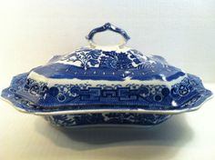 Antique Allerton Blue Willow Covered Serving Bowl Vegtable Dish Lid England Flow | eBay