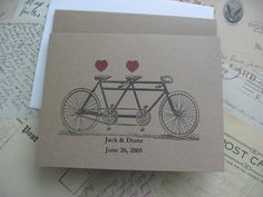 Bicycle Note, Invitation, Thank You Card - Personalized and Custom - Set Of Two- Tandem