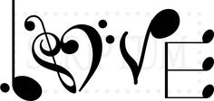 Love Spelled In Music Notes Vinyl Wall Decal