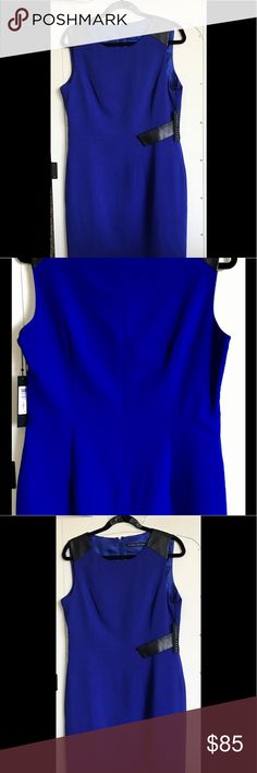 Bright Blue Ivanka Trump Sheath dress Stunning deep cobalt blue sleeveless sheath dress with imitation leather trim.  New with tags, size 12.  Perfect for the woman who wants to stand out in a crowd.  Flattering tailoring, sophisticated and easy to wear.  Perfect for office, cocktails, meetings. Ivanka Trump Dresses
