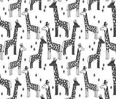 Giraffe - Charcoal by Andrea Lauren fabric by andrea_lauren on Spoonflower - custom fabric