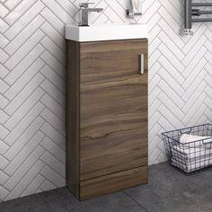 Portland Floorstanding Walnut Effect Compact Basin Unit- soak.com Bathroom Mixer Taps, Bathroom Basin, Small Bathroom, Bathroom Ideas, Bathroom Stuff, Sink Vanity Unit, Sink Units, Vanity Units, Basin Unit