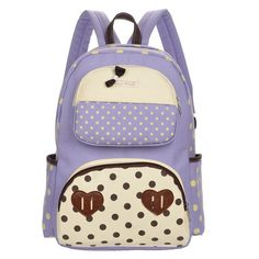Polka Dot Print Bowknot Backpack School Canvas Bag