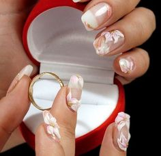 When it comes to wedding nails design, there are a lot of choices. Here are some images of various nail designs for wedding day. Wedding Manicure, Wedding Nails Design, Bridal Nails, Wedding Designs, Nail Art Designs 2016, Acrylic Nail Designs, French Nails, French Manicures, Cute Nail Art