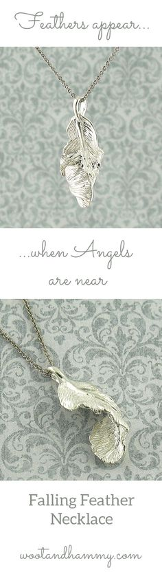 """Falling Feather Necklace...a feather twirls as it falls towards the earth....pinned by ♥ wootandhammy.com, thoughtful jewelry. """"Feathers appear when angels are near."""""""
