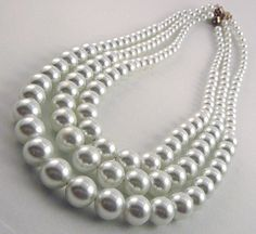 17 19 21 Inch Faux Pearl Graduated Necklace Set by DaddyAndMeMagnetics, $35.00