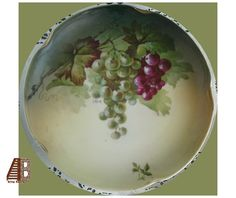 J&C Jaeger Bavaria Plate Fruit Bunches of Grapes Artist Signed Painted Gold Accent epsteam