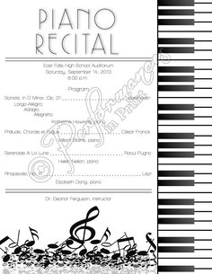 Piano Recital Concert Music Program