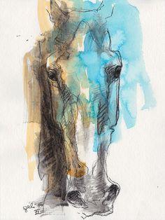 Horse Head, Animal, Contemporary Original Fine Art, Black Chalk and Acrylics Horse Head Drawing