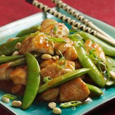 Sichuan-Style Chicken with Peanuts: try with broccoli instead of peas