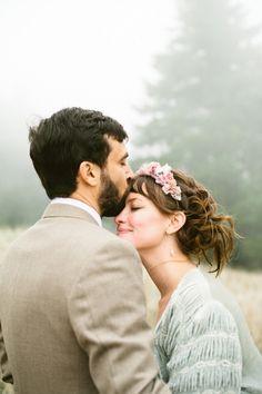 whimsical mountain top wedding portrait