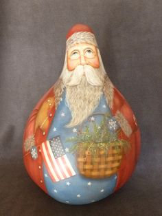 Large Detailed Americana Santa Gourd with by POPLARHOLLOWSTUDIO