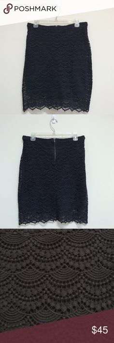 {Mango} Navy Crochet Skirt. Knee Height Crochet Skirt from Mango. Never worn. Brand new. Beautiful piece. Make an offer!🌺🛍📦🎀🎈 Mango Skirts Midi