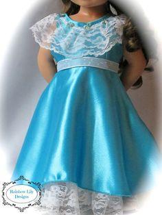 Aqua American Girl Gown 18 Inch Doll by RainbowLilyDesigns