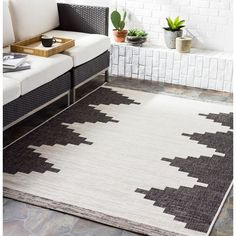 """Aleida Indoor/ Outdoor Modern Area Rug - On Sale - Overstock - 31317339 - 7'10"""" x 10'2"""" - Charcoal Area Rugs For Sale, Modern Area Rugs, Modern Outdoor Rugs, Outdoor Living, Indoor Outdoor Area Rugs, Outdoor Spaces, Modern Colors, Cool Rugs, Accent Furniture"""