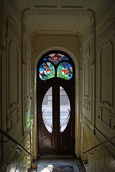walzerjahrhundert: Art Nouveau Architecture in Krakow, Poland: Tenement door with stained glass, 1906 Cool Doors, The Doors, Unique Doors, Entrance Doors, Windows And Doors, Doorway, Front Doors, Art Deco, Art Nouveau Design