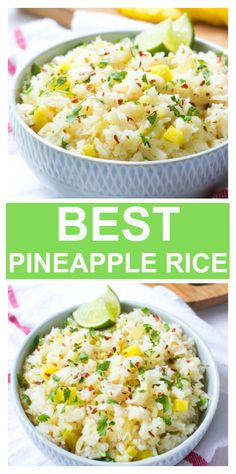 Hawaiian rice recipe with jasmine rice, pineapple, and red pepper flakes. The best rice recipe! Pineapple Rice, Pineapple Recipes, Crushed Pineapple, Vegetarian Recipes, Cooking Recipes, Healthy Recipes, Yummy Rice Recipes, Vegetarian Rice Dishes, Recipes Using Rice