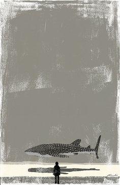 (Rachel DeLeeuw) Tatsuro Kiuchi Illustration for The ocean, stars and a half moon, a short novel by Hiroto Kawabata. Illustration Arte, Gravure Illustration, Art Encadrée, Plakat Design, Kunst Online, Grafik Design, Art Plastique, Illustrations Posters, Painting & Drawing
