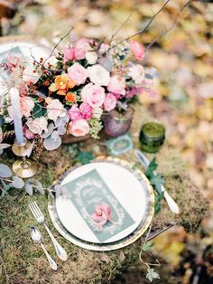 Enchanted Forest Fairytale Wedding in Shades of Autumn | forest wedding table…