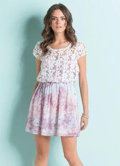 Vestido com Transparência Floral Rosa - Quintess