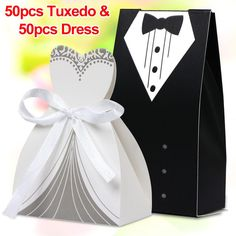 100PCS Wedding Favor Candy Boxes Bridal Groom Dress Tuxedo Party Ribbon Gift #UnbrandedGeneric