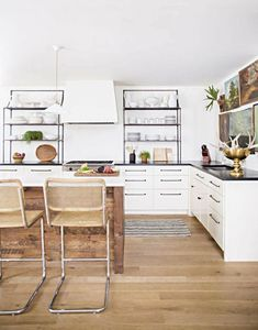lauren liess white and wood kitchen