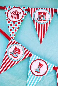 Carnival Circus Invitation with Tickets - Aqua and Red Collection - Gwynn Wasson Designs PRINBTABLES