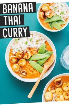 Try something new and daring with Banana Curry recipe. It's savory and filling but contains an unexpected fruity twist that's surprisingly satisfying. Full of flavor and the perfect healthy vegan dinner for the whole family. #curry #thaifood #vegan #vegetarian Healthy Recipes On A Budget, Vegetarian Recipes Dinner, Vegan Dinners, Clean Eating Recipes, Vegan Vegetarian, Dinner Recipes, Budget Meals, Healthy Food, Top Recipes