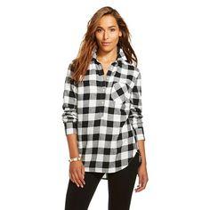 Women's Plaid Flannel Popover Favorite Shirt - Merona™ - Ebony