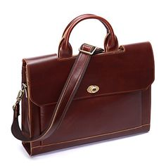 Leathario Men's Leather Flapover Briefcase (Brown). Retro Genuine Leather Briefcase. Easy to take office supplies and Suitable for business trip; It Is Also Can Be As A Wonderful And Practical Gift Or Present For Valentine'S Day, Father'S Day, Teachers' Day, Thanksgiving, Christmas, Birthday Or Almost Any Other Occasion. 100% Genuine Leather, Environmental friendly material, Vegetable tanned and Glossy leather. Durable and smooth Brass zipper. Metal twist lock in front. Leather cashmere…